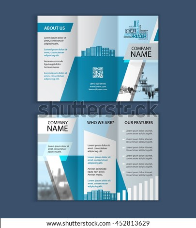 Concept of architecture design with photo frame. Vector illustration. trifold Brochure template for real estate company. - stock vector