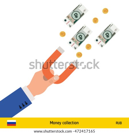 Concept of attracting investments. Russian Ruble banknote. Business concept vector illustration.