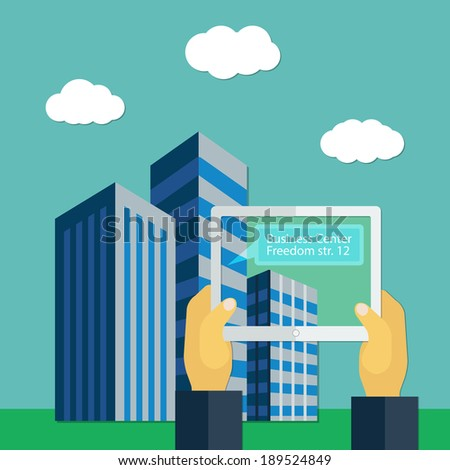 Concept of augmented reality with hands and tablet in flat style - stock vector