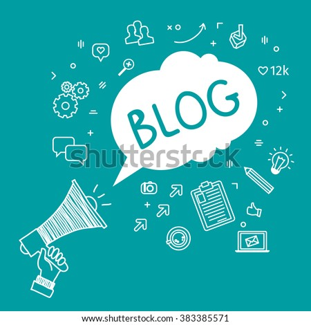 Concept of blogging. Hand Holding Megaphone with Blog. Hand drawn illustration. - stock vector