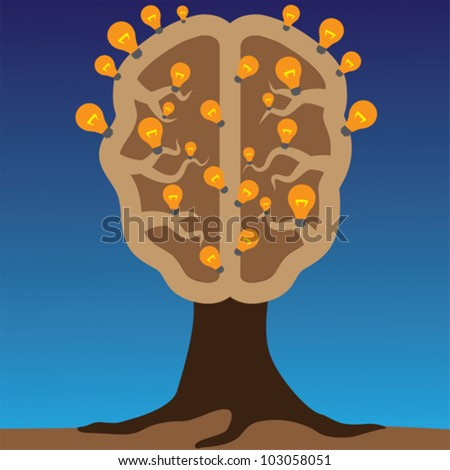 Concept of brain as a tree with bulbs as solutions to problems. Concept of using brain to create great ideas to solve human problems. - stock vector