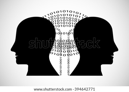 Concept of Brain storming, Knowledge sharing between to people head, this was shown through digital data transferring from one human brain to other, this also represents creative mind, innovation - stock vector