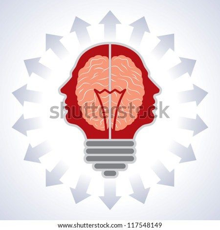 Concept of brain with bulbs as solutions to problems. Concept of using brain to create great ideas to solve human problems. - stock vector