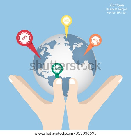 Concept of Business cartoon hand holding world map globe, Vector Illustration EPS 10. - stock vector