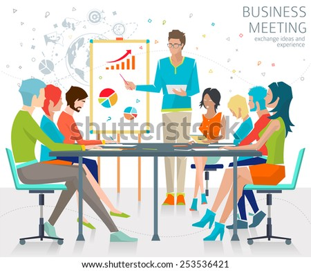 Concept of business meeting / exchange ideas and experience / coworking people / collaboration and discussion / vector illustration - stock vector
