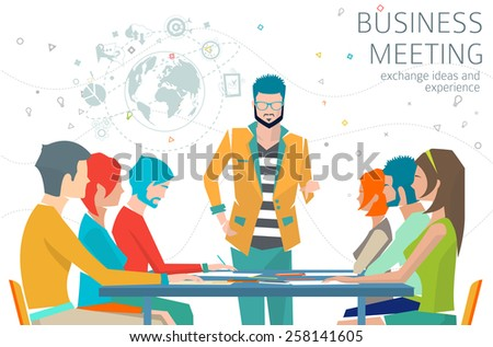 Concept of business meeting / leadership / exchange ideas and experience / coworking people / collaboration and discussion / vector illustration - stock vector