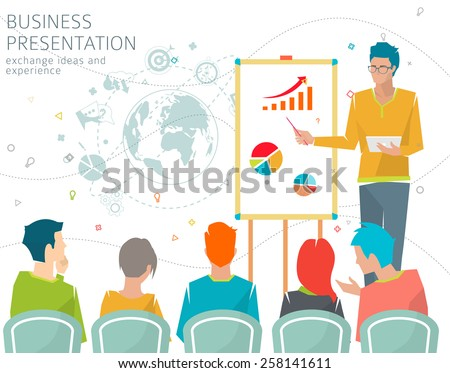 Concept of business presentation / conference / exchange ideas and experience / collaboration and discussion / vector illustration - stock vector