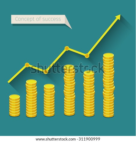Concept of business success. Graph with golden coins. Flat design, vector illustration. - stock vector