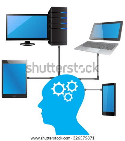 Concept of Business Technology Solution with laptop, mobile phone, tablet and computer from human, Vector Illustration EPS 10. - stock vector