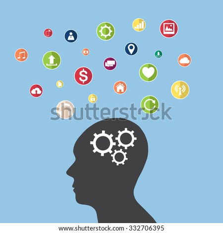 Concept of Business Technology Solution with Web icons, Business icons and Technology icons for technology and business concept, Vector Illustration EPS 10. - stock vector