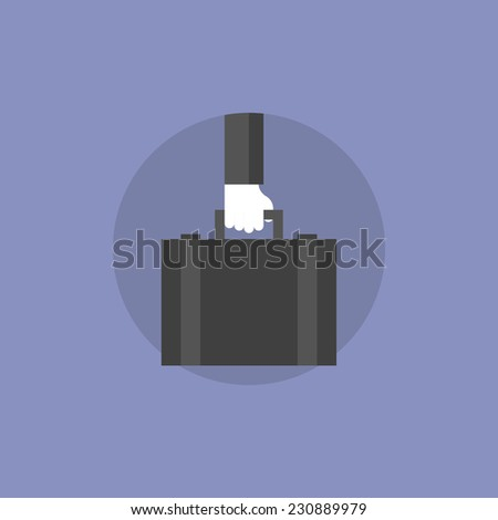 Concept of businessman holding briefcase with company documents. Flat icon modern design style vector illustration concept. - stock vector