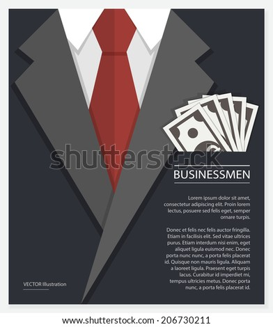 Concept of businessman suit with money. Vector illustration - stock vector