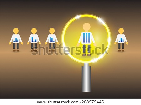 Concept of candidates selection in modern dark background. - stock vector