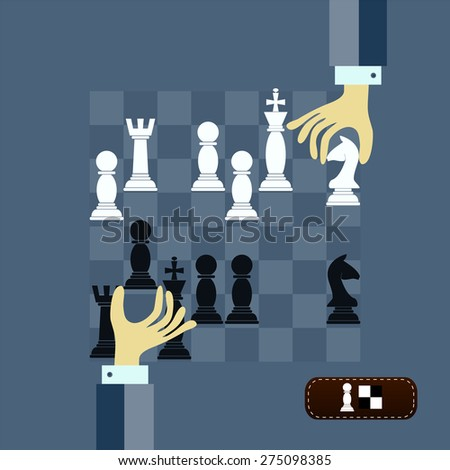 concept of chess game strategy with isolated hands holding chess pieces over chessboard. Flat design modern vector illustration - stock vector
