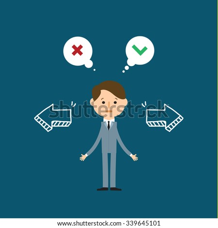 Concept of choice. Cartoon business man in front of a wall showing two arrows. Flat design, vector illustration - stock vector