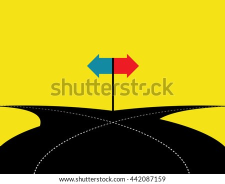 Concept of choice with crossroads splitting in two ways. Vector flat - stock vector