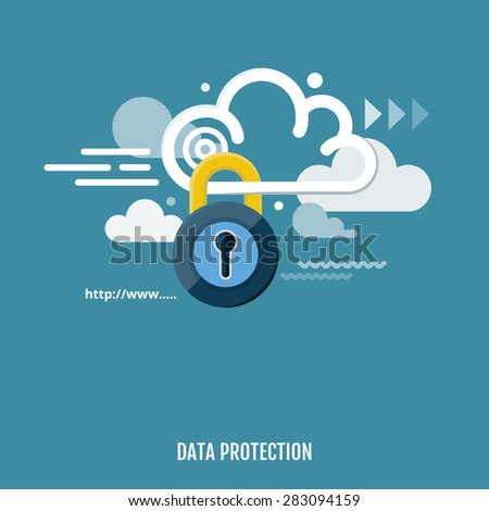 Concept of cloud computing and protecting data. Vector Illustration. Flat design. - stock vector