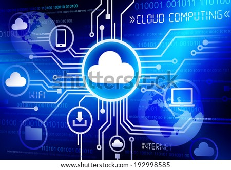 Concept of cloud computing in a cloud computing concept. - stock vector