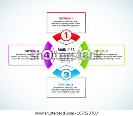 Concept of colorful circular banners with arrows for different business design. Vector illustration. - stock vector