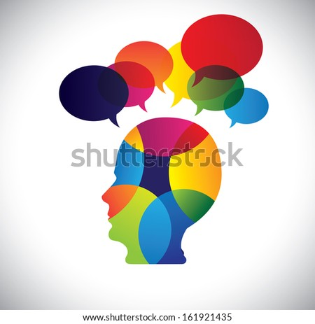 concept of colorful face with puzzles, questions, doubts, ideas. The vector graphic also represents a person icon with talk signs indicating imagination, ideas, opinions, dreams, thoughts, etc - stock vector