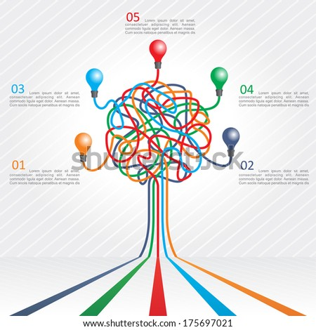 Concept of colorful tree for different business design. Vector illustration