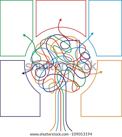 Concept of colorful tree with arrows for different business design. Vector illustration