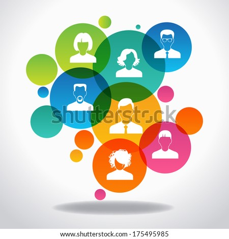 Concept of communication. Avatar people colored circles intersect.  The file is saved in the version AI10 EPS. This image contains transparency. - stock vector