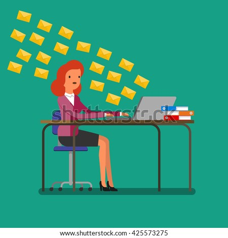 Concept of communication. Woman receiving tons of messages on laptop. Flat design, vector illustration. - stock vector