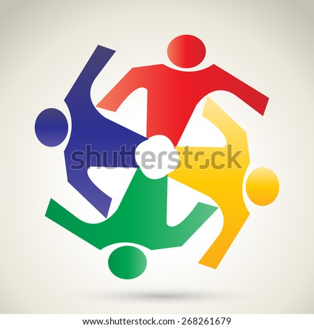 Concept of community unity,solidarity & friendship- vector graphic. This vector represent colorful kids playing together holding hands together in circles or union of workers - stock vector