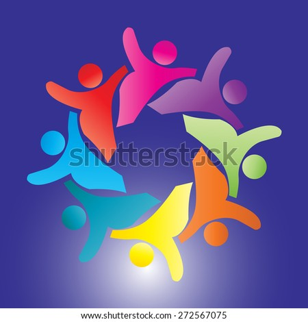 Concept of community unity,solidarity,  represent colorful kids playing together holding hands together in circles or union of workers & friendship- vector graphic.  - stock vector
