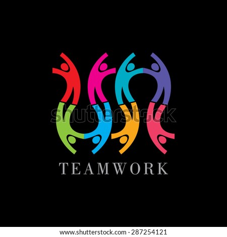 Concept of community,workers,unity,social networking icon image logo template. Teamwork vector - stock vector