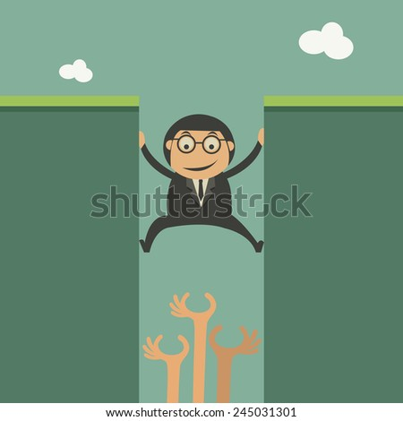 Concept of competition with climbing businessman - stock vector