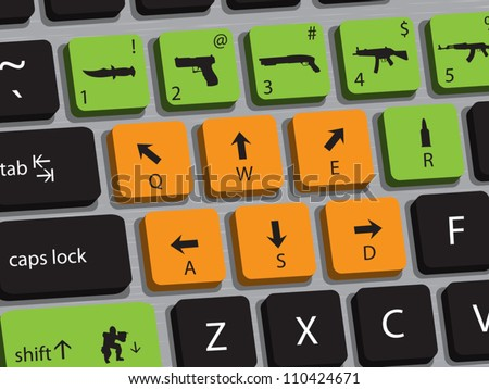 Concept of computer keyboard designed for playing shooting games. - stock vector
