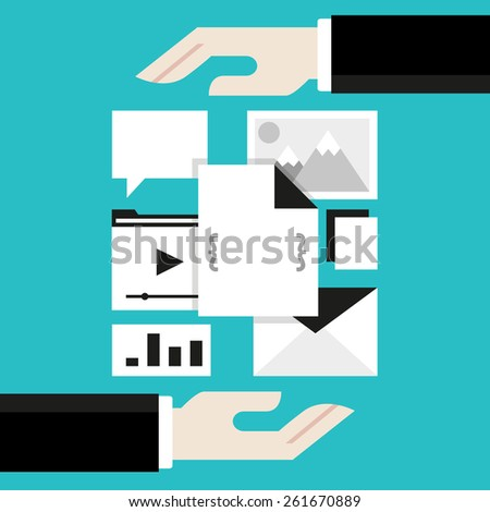 Concept of content management system - vector illustration - stock vector