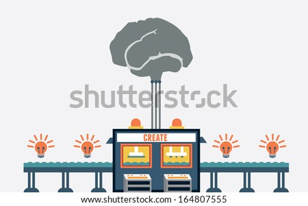 Concept of create ideas. Functions of brain - solution, innovation, creativity - vector illustration - stock vector