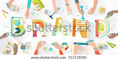Concept of creating and building brand / work in multicultural team / coworking / typography - stock vector
