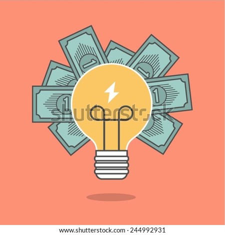 concept of crowdfunding, light bulb and money, vector illustration - stock vector