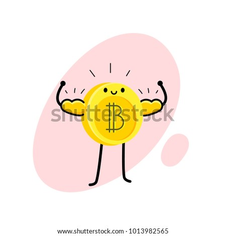 Concept of Crypto currency. Cartoon bitcoin character. Bitcoin stands, shines and shows strength. Vector illustration.