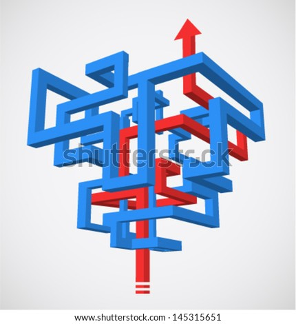 Concept of 3D maze with succesfull strategy - stock vector