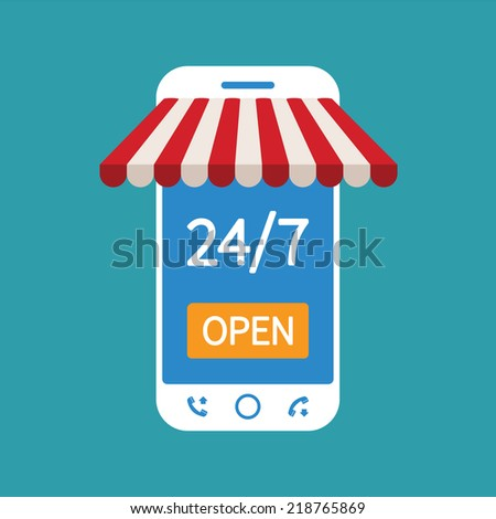 Concept of day and night online shop on modern smart phone - stock vector