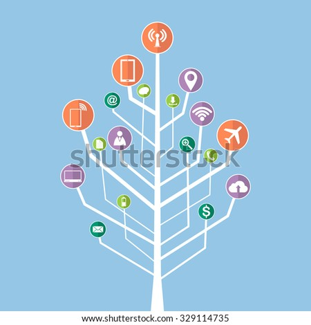 Concept of Dead tree without leave with Vector Web icons, Business icons and Technology icons for business solution concept, Vector Illustration EPS 10. - stock vector