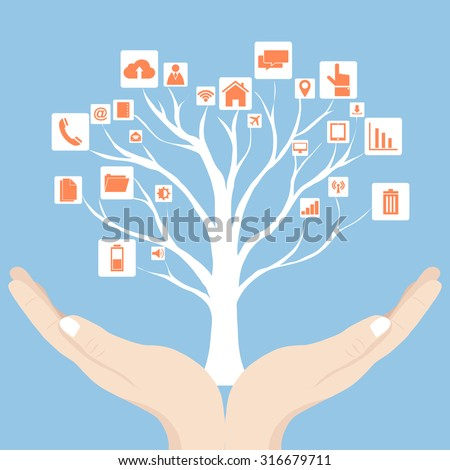 Concept of Dead tree without leave with Vector Web icons, Business icons and Technology icons on the hands, Vector Illustration EPS 10. - stock vector