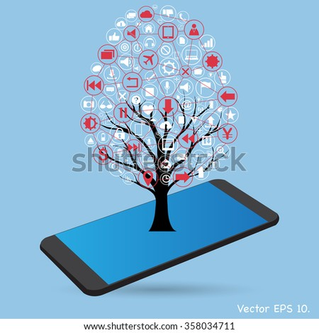 Concept of Dead tree without leave with Vector Web icons, Business icons and Technology icons on mobile phone, Vector Illustration EPS 10. - stock vector
