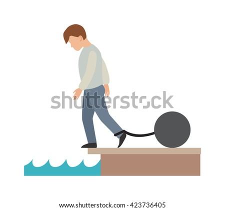 Concept of difficult life risks and challenges difficult business life. Difficult life vector concept and Difficult life people hard problem. Difficult life - stock vector