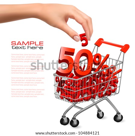 Concept of discount. Shopping cart with sale. Vector illustration - stock vector