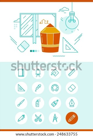 concept of drawing and illustration with related set of icons, vector illustration