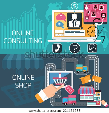Concept of e commerce, online shopping, delivery and online consulting, support service with laptop and digital tablet flat design - stock vector