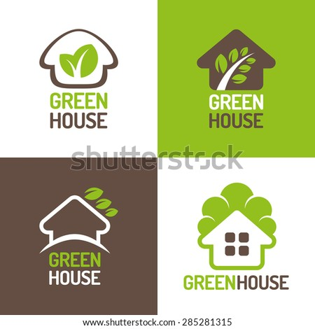 Concept of eco friendly green houses. Set of vector logos.