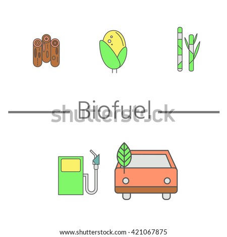 Concept of eco fuel. Auto and refilling with biofuel. Banner with place for your text. Wood, corn and sugarcane - the main raw material for the production of biofuels - stock vector