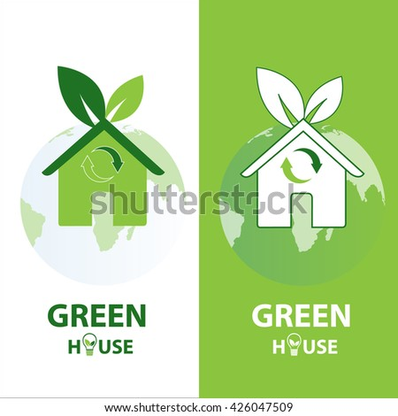 Concept of eco green houses by vector logos. - stock vector